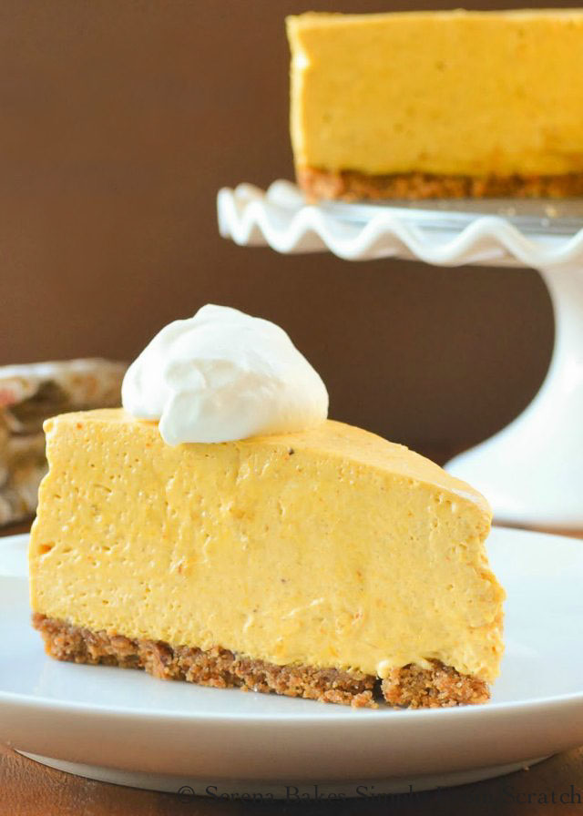 No Bake Pumpkin Cheesecake with Toasted Pecan Graham Cracker Crust recipe is a must have for Thanksgiving and Christmas dessert table in our house. Recipe from Serena Bakes Simply From Scratch.