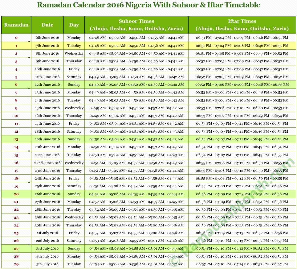 Calendar Ramadan 2016 Norge with Ramadan Timetable 2016 and timings