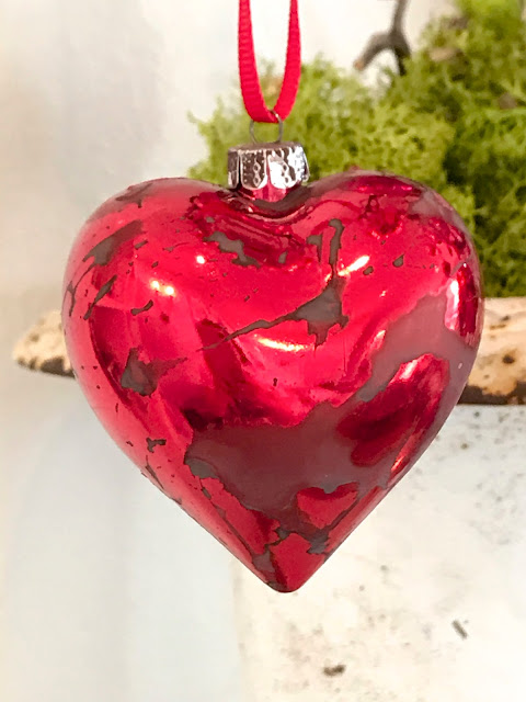 Valentine's Day Home Decor; Nora's Nest, Valentine Trees, pink antique ornaments, DIY antique red heart ornaments