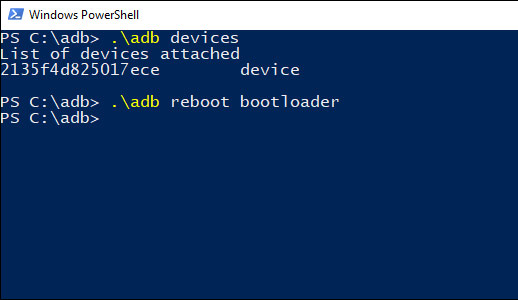أوامر ADB Windows Powershell