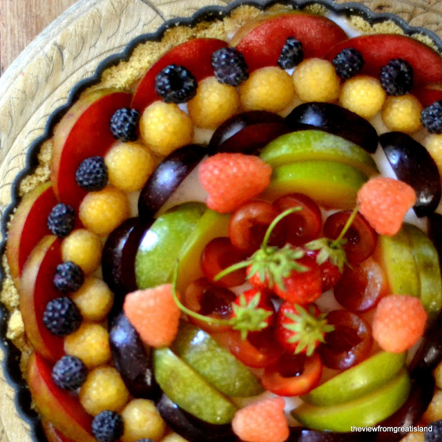 Coconut Milk Panna Cotta Tart topped with fruit