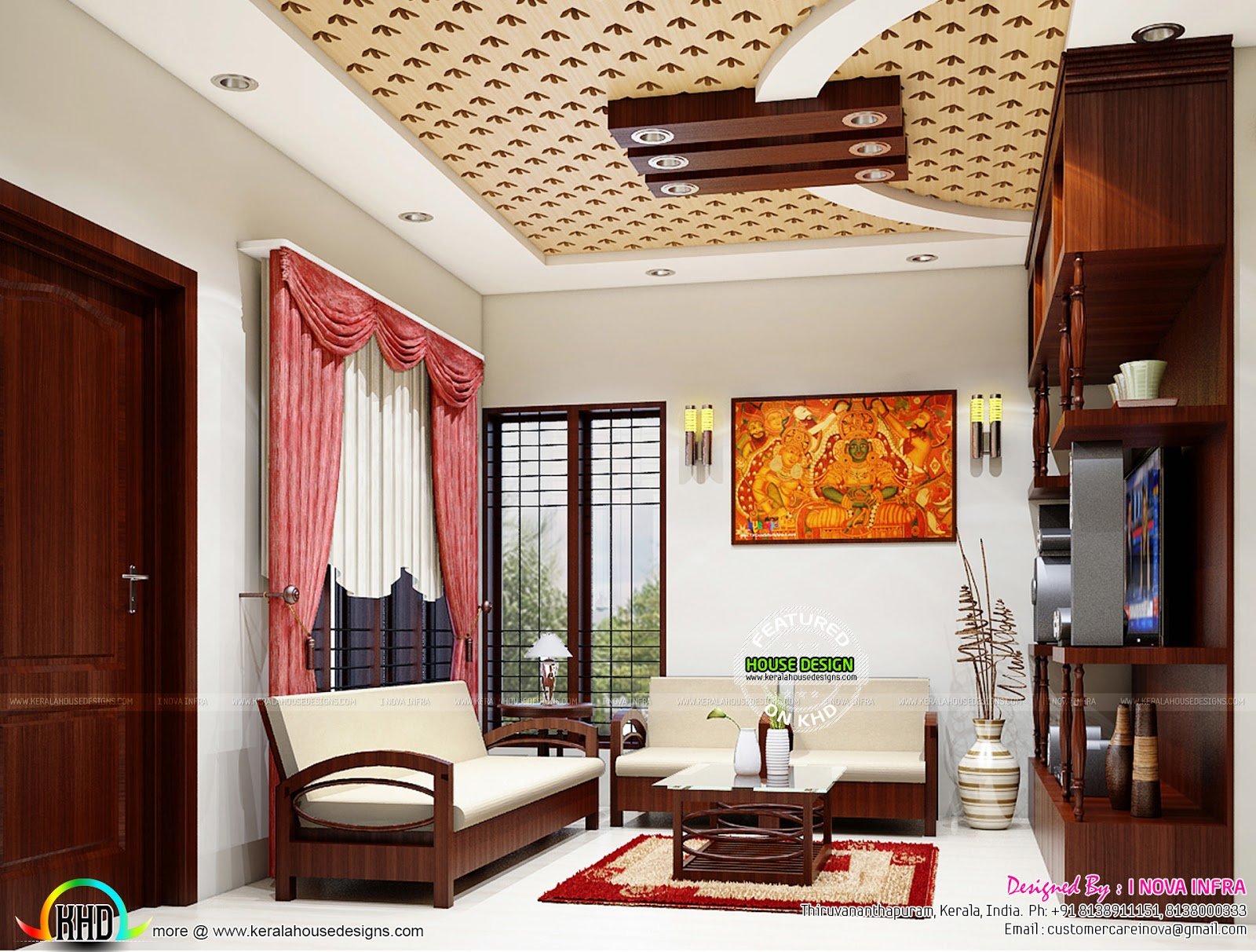 Kerala traditional interiors kerala home design and for Interior design living room