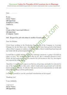 request letter for transfer of job location due to marriage