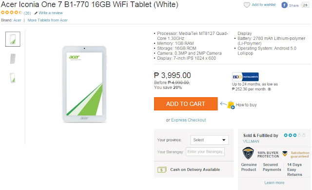 Acer Iconia One 7 B1-770 16GB WiFi Tablet (White) - LAZADA
