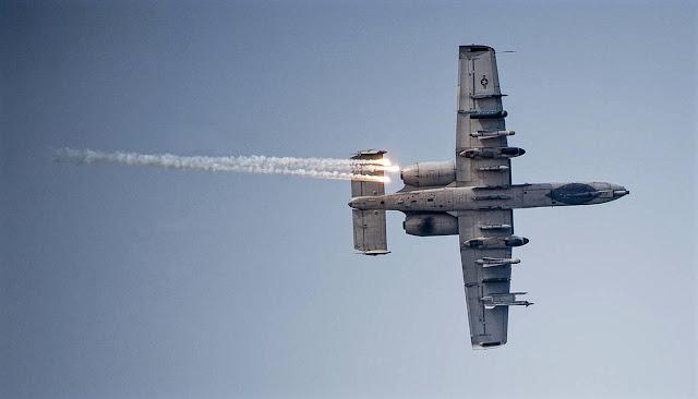 A-10 Warthog Jet Fighter Releases Flares