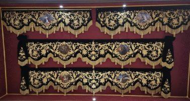 Así son las bambalinas laterales del palio del Sol de Sevilla