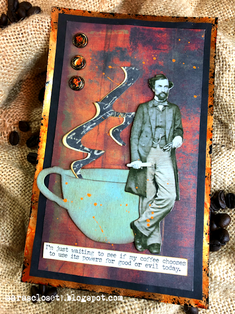 Sara Emily Barker https://sarascloset1.blogspot.com/ Fall Coffee Card Tim Holtz Tea Time Steampunk Parts Abandoned Paper Stash 4