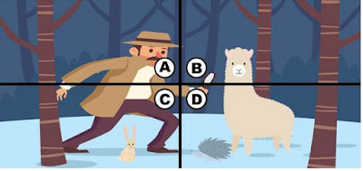 Alt-1 Q 18. This detective heard that there have been sightings of a tiny monster in this area. he tells kiki that he will help her buy her watermelon if she can find the monster. where is the tiny monster in this picture?
