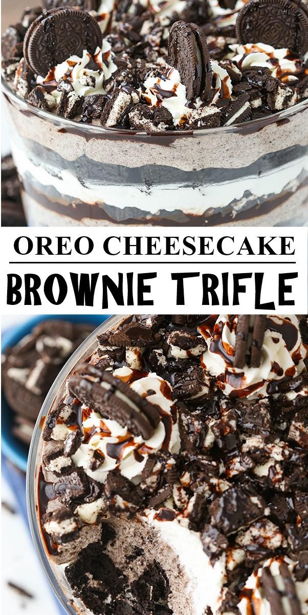 OREO CHEESECAKE BROWNIE TRIFLE #dessertrecipes