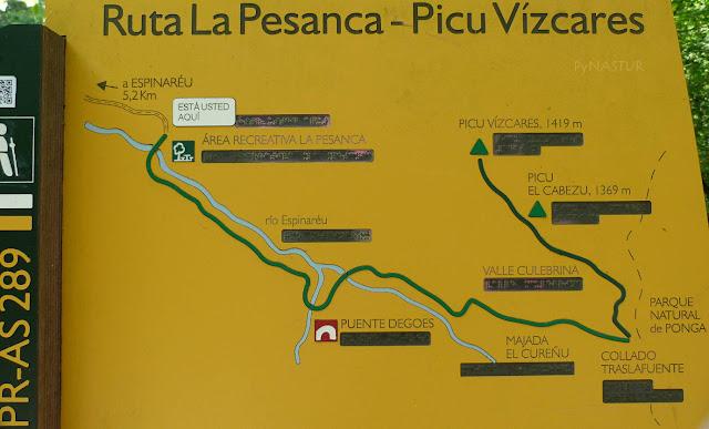 Panel  informativo mapa ruta Pico Vízcares