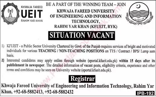 Latest Jobs in Pakistan Khawaja Fareed University Rahim Yar Khan Jobs 2021