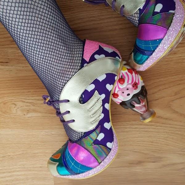 wearing Irregular Choice SS18 ice cream sundae shoes