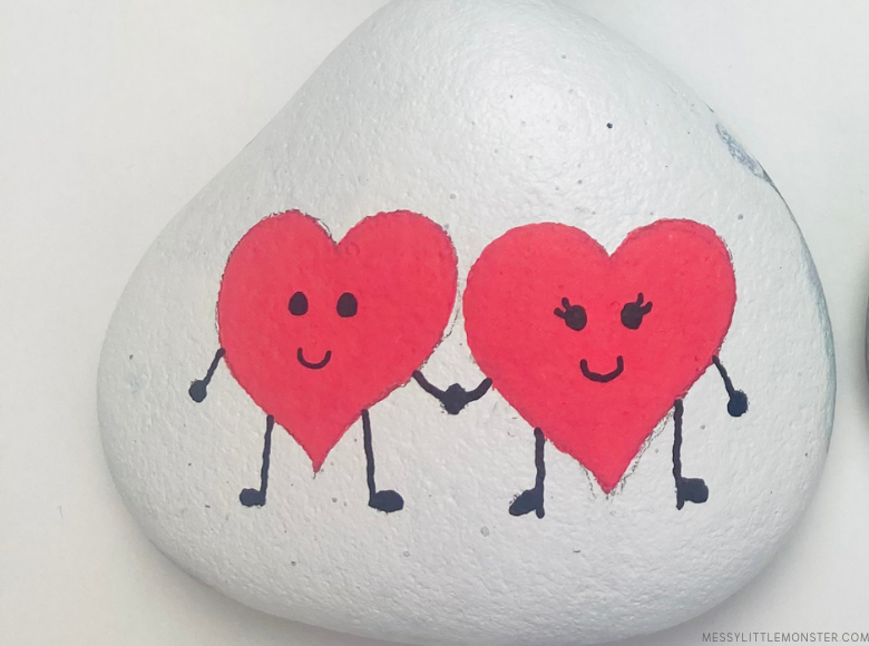 Valentine's Day heart painted rocks