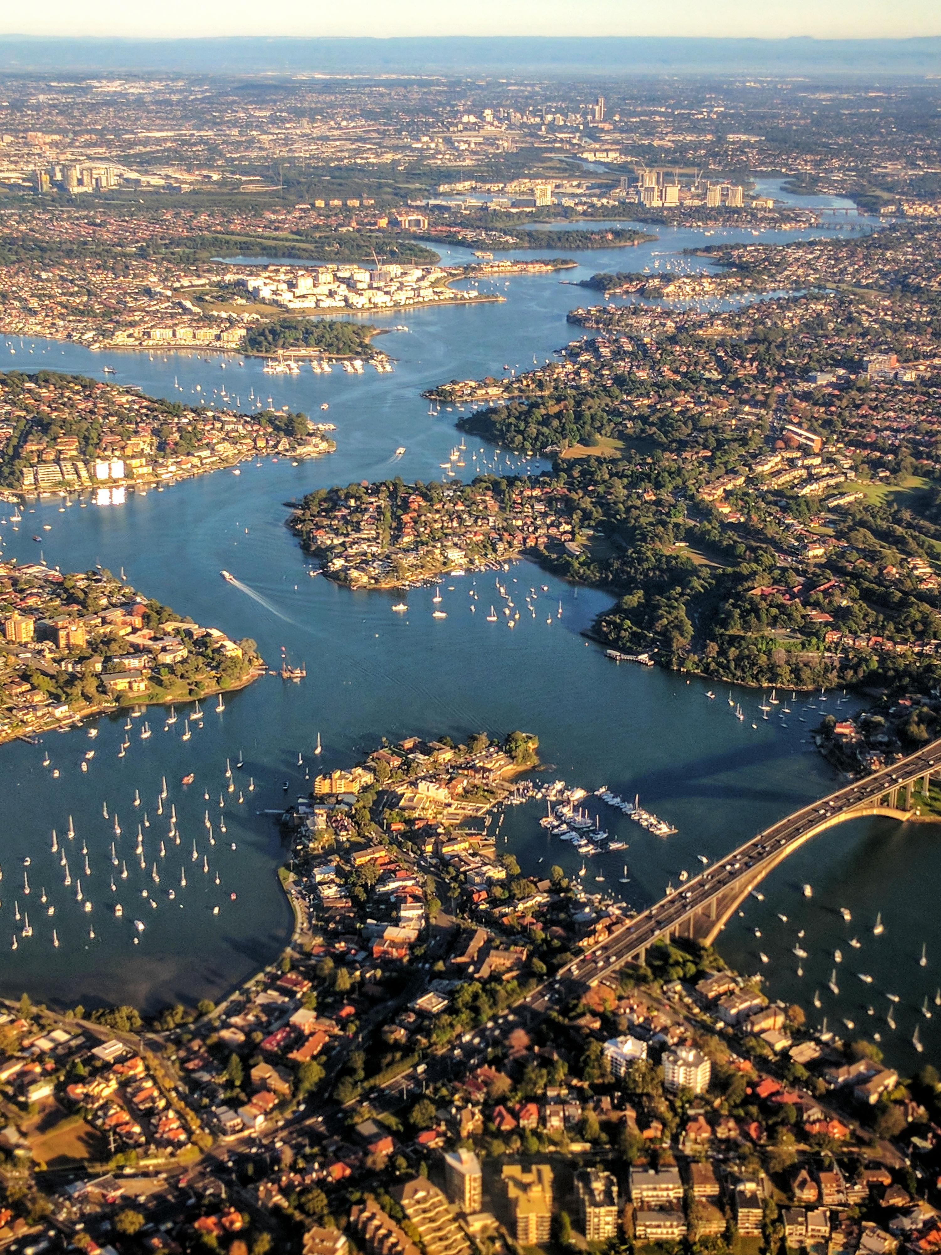 Above Parramatta River (Sydney) looking west from Gladesville Bridge