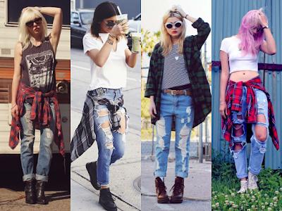 Boyfriend jeans dan flannel