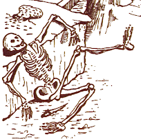 Artist's conception of the skeleton from the 1980 text adventure, Zork I.  It's the remains of a previous adventurer.