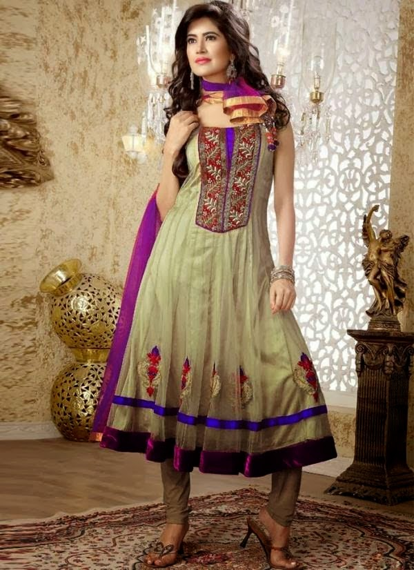 3c0e25fa4 Printed And Embroidered Anarkali Frocks For Young Girls 2014