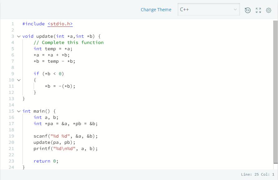 Pointer in C++ - Hackerrank Solution