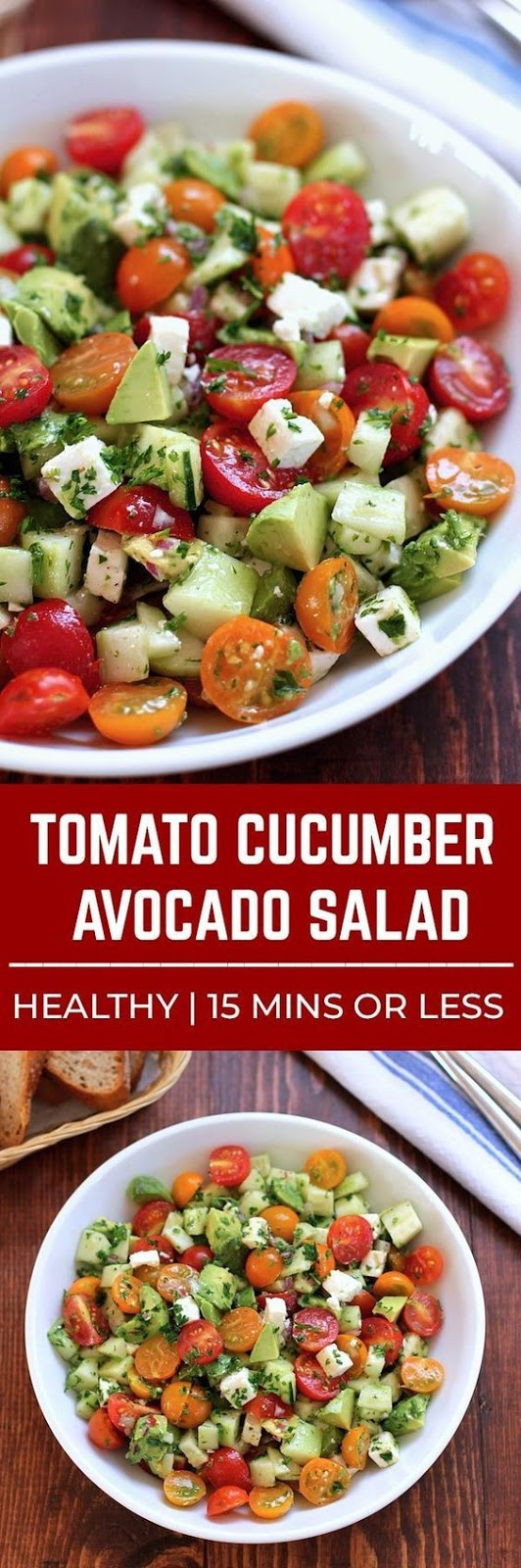 This tomato, cucumber, avocado salad is an easy, healthy, flavorful salad.  It's crunchy, fresh and simple to make.  It's a family favorite and ready in less than 15 minutes.
