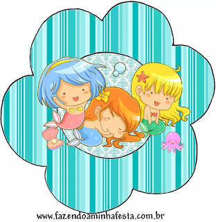Baby Mermaid: Free Printable Cupcake Wrappers and Toppers.