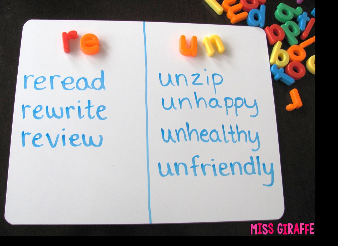 Miss Giraffe S Class Prefixes And Suffixes Teaching Ideas For First Grade And Kindergarten
