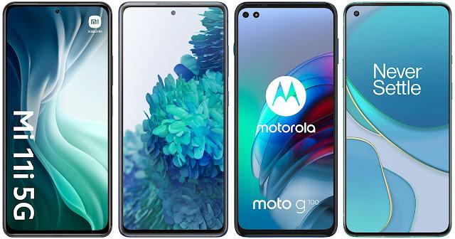 Xiaomi Mi 11i vs Samsung Galaxy S20 FE 5G vs Motorola Moto G100 vs OnePlus 8T