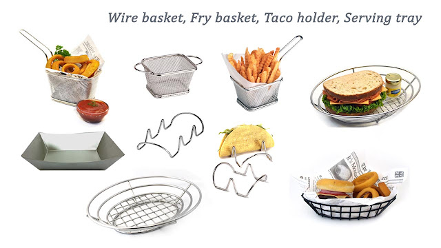 wire basket, taco holder. fry basket, serving tray, metal tray