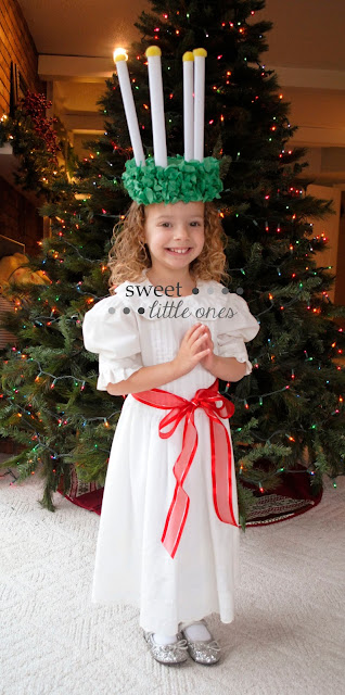 Catholic Liturgical Living: St. Lucy/Lucia Feast Day Celebration Ideas, Traditions, Recipes, and DIY Wreath Crown Craft www.sweetlittleonesblog.com