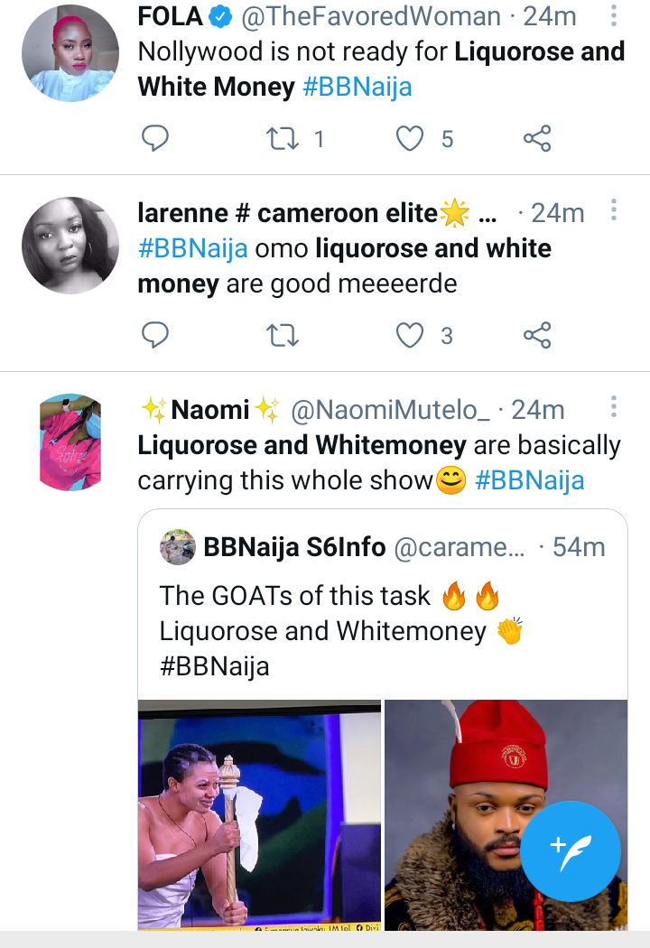 Bbnaija 2021: Social Media Users React To Liquorose And Whitemoney's Performance In Today's Wager Challenger