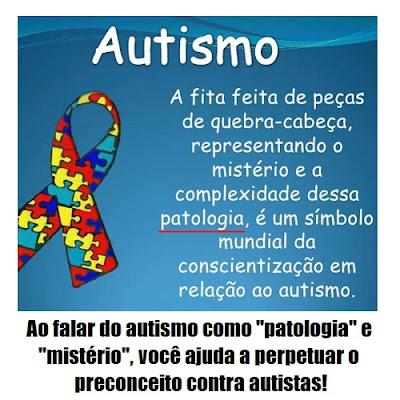 """Descrição da imagem #PraCegoVer: Print de slide de Powerpoint no qual se exibe um símbolo de laço com peças coloridas de quebra-cabeça e está escrito """"Autismo: a fita feita de peças de quebra-cabeça, representando o mistério (sic) e a complexidade dessa patologia (sic), é um símbolo mundial da conscientização em relação ao autismo"""". No rodapé, abaixo do print, está escrito """"Ao falar do autismo como patologia e mistério, você ajuda a perpetuar o preconceito contra autistas!"""". Fim da descrição."""