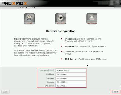 Lalu masukkan hostname untuk proxmox dan konfigurasi ip address sesuai dengan topologi jaringan anda, setelah itu klik next