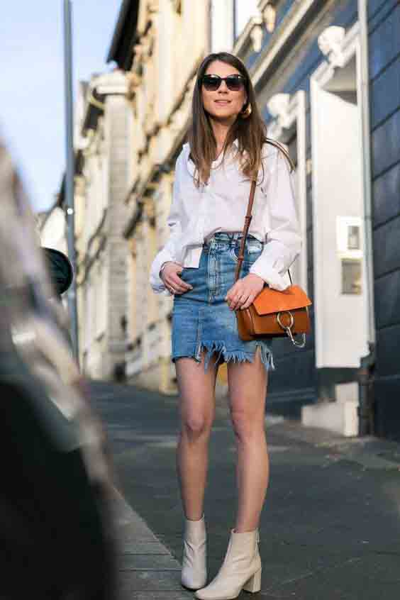 saia jeans no outono/inverno