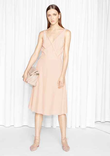 stories mesh edge dress, peach edge dress,
