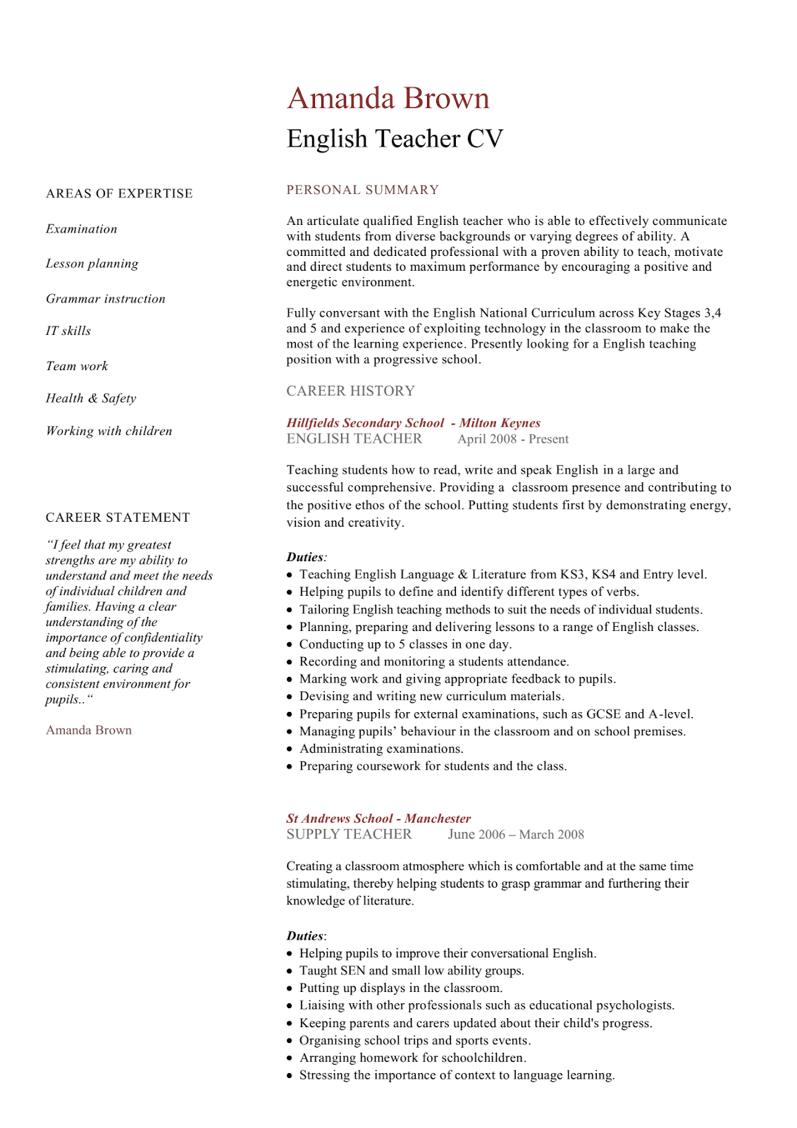 Avari Point English Teacher Cv Resume Example Template And Format