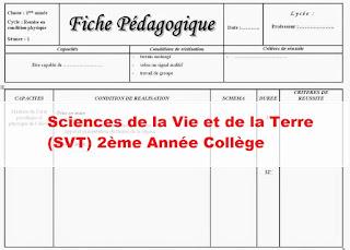 Fiches pédagogiques  Sciences de la Vie et de la Terre (SVT) 2ème Année Collège