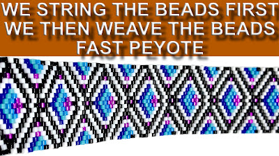 we string the beads first we then weave the beads