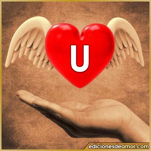 corazón con alas con letra U