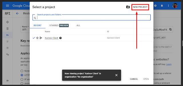 buat project baru di google chrome