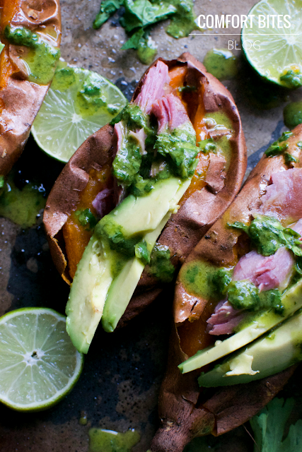 baked sweet potatoes with smoked turkey and coriander lime dressing