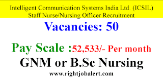 50 Staff Nurse Vacancies in Intelligent Communication Systems India Limited