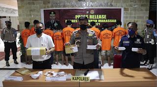 Amankan 12 Pengedar Saat Operasi Antik 2021 , Kapolres  Pelabuhan Makassar : Mari Perangi Narkoba