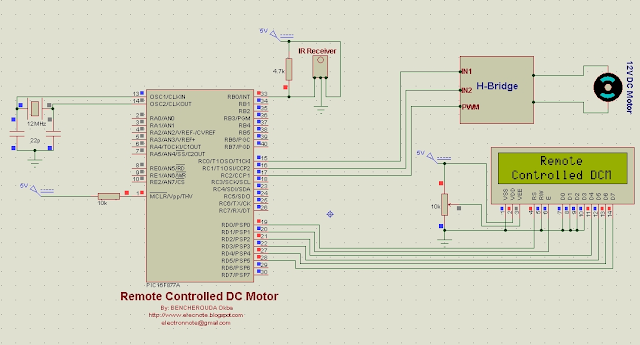 remote controlled dc motor speed direction pic16f877a mikroc code