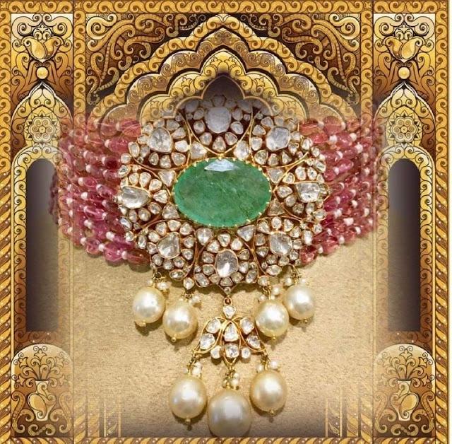 Diamond Choker with Ruby Beads Layers