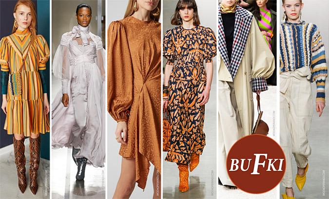 modne bluzki z bufkami, sukienki z bufkami