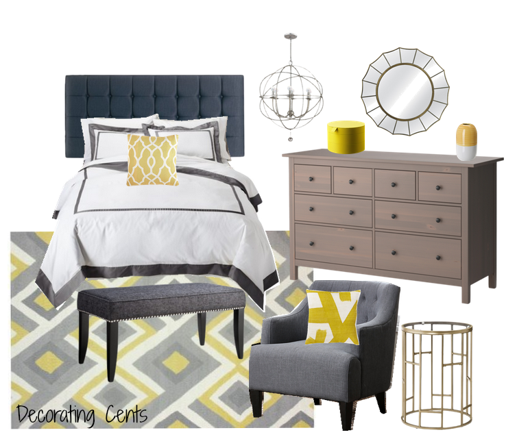 Decorating Cents: Gray And Yellow Bedroom