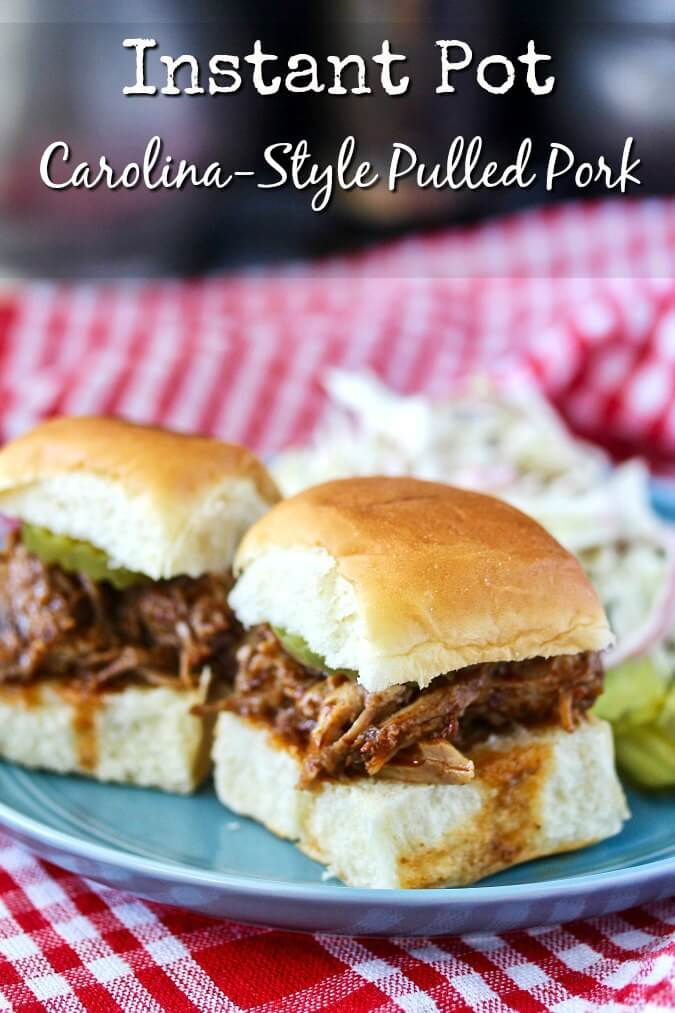 Instant Pot Carolina-Style Pulled Pork Sandwiches with coleslaw and pickles