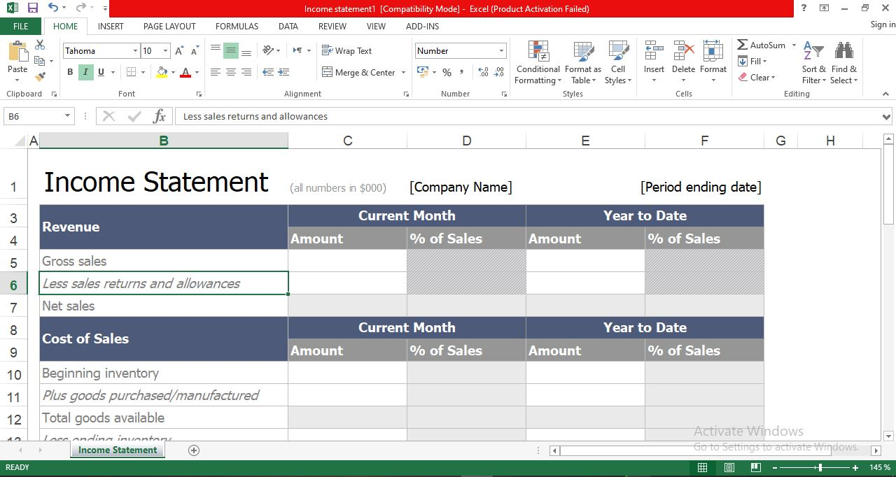 Income statement excel template free download