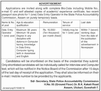State Police Accountability Commission DEO Posts