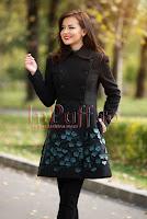 Palton elegant dama cu flori verzi 3D