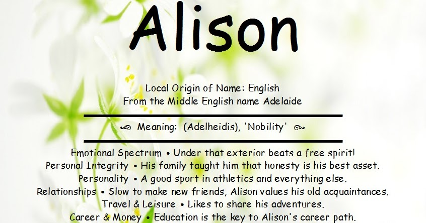 Alison Name Meaning And Analysis ~ First Name Creations